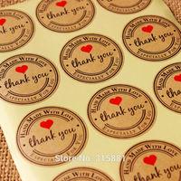 Round heart Kraft Seal Sticker, 'Handmade with Love' Sticker, Kraft Paper Material