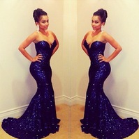 2014 New Arrival Women Mermaid Sequin Long Dress Sweetheart Royal Blue Formal Long Evening Dresses Evening Gown