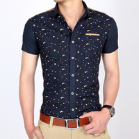 New 2014 Summer Casual Cotton Blusas Masculinas Excellent Quality Print Shirt Shirts Slim Short-sleeved Men's Shirts