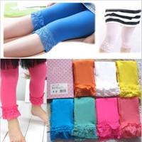 Retail new 2014 girl summer velvet lace leggings kids candy color leggings short For 4-12 years free shipping E943