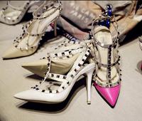 Free Shipping 2014 Genuine Leather lizard Finishing Rivet 10 cm heel Sandals Women Shoes