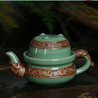 Genuine Ge Kiln, Dragon style tea set, Quik cup, 1 pot + 1 cup, ice crack porcelain, Ceramic teapot, teacup, wholesale~