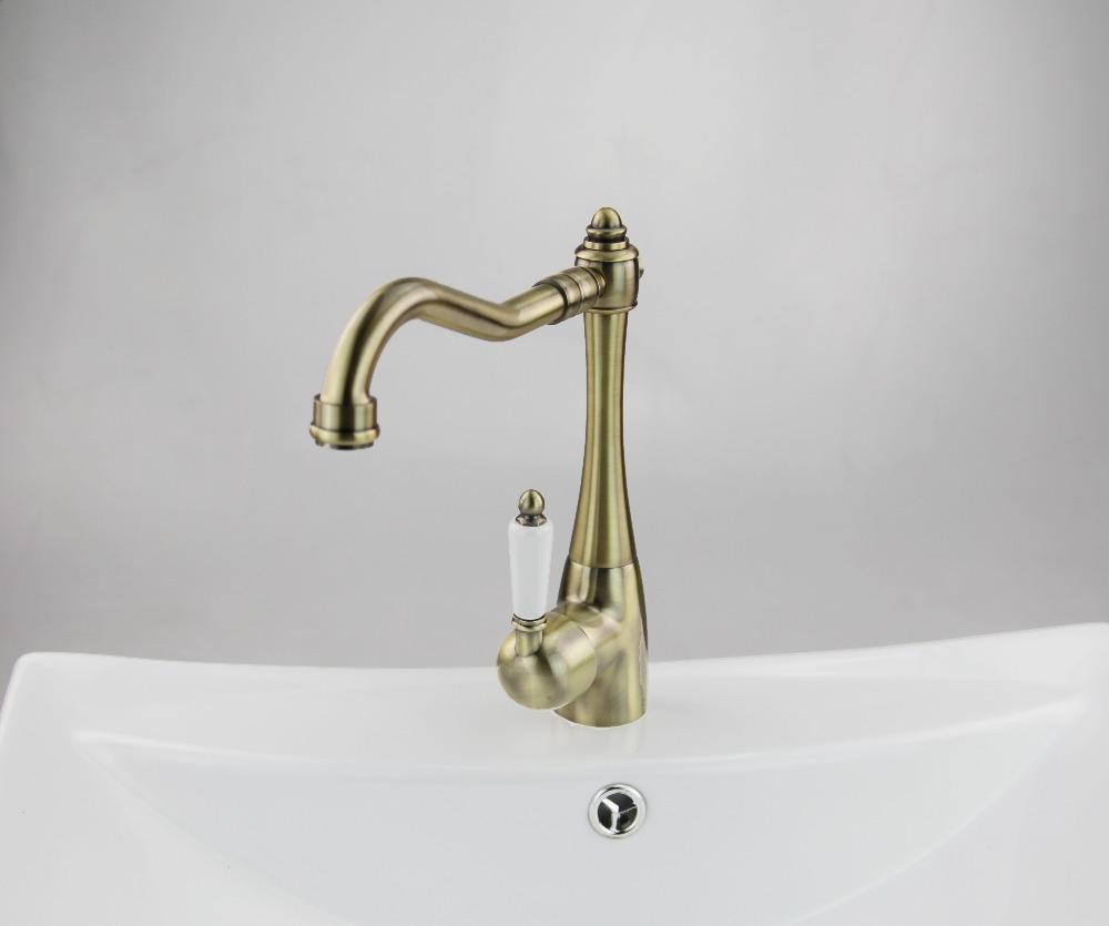 69 OFF Construction Real Estate Ceramic Handle Antique Brass Bathroom Kitchen Basin Sink Vessel Swivel Mixer
