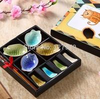 Tableware, chopsticks set, small dishes, chopsticks holder, colourful fish flavored dish, gift box, ice crack glaze, wholesale~