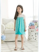 Hitg quality baby frozen dress girl Elsa Dresses new 2014 princess lace blue party casual summer dress baby & kids clothing