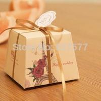 20pcs Floral Rose La Tour Eiffel Wedding Favor Gift Box Candy Paper Boxes With Ribbon