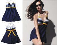 New Fashion Sexy Women's Padded Stripe Blue Swimwear Push up Bathing Suit