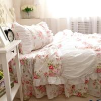 Romantic Rose Print Comfrter Set,Korean White Ruffle Bedding Set,Girls Fairy Bedding Sets