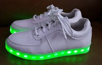 2014 New Fashion Simulation Yifang Wan X Samuel Yang LED USB Charge Genuine Leather Men Women Flat Sneakers Shoes Green Lighted