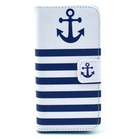 Free shipping navy blue anchor case stand Wallet PU Leather Case For iphone 5s 5
