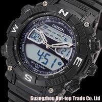New Brand Military relogio digital Analog Dual Time Alarm Hiking Silicone Strap Black Quartz Army Wrist Mens Sports Casual Watch