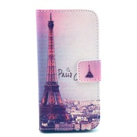 Free shipping Paris Eiffel tower case case stand Wallet PU Leather Case For iphone 5s 5