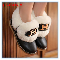 ENMAYER Big Size 34-43 Fashion Women's Ankle Boots Thick Fur Winter Shoes Flats Casual Snow Boots for Women Home shoes 4 color