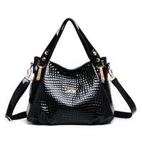 2014new European style fashion women handbag hot sale women patent leather shoulder bag crocodile pattern women messenger bag