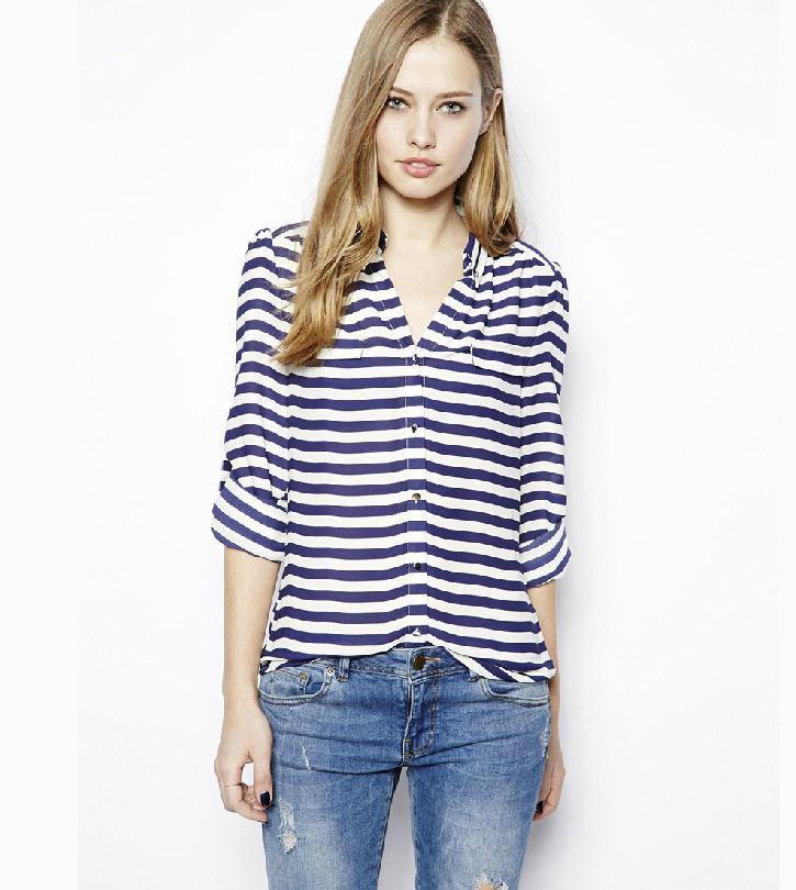 Azul marinho listras de colarinho azul e branco blusa de mangas compridas chiffon sem forro vestuário superior grátis frete()