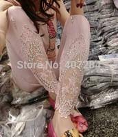 fashion Diamond lace hook flower splicing feet pants pencil pants show thin lady leggings white pink
