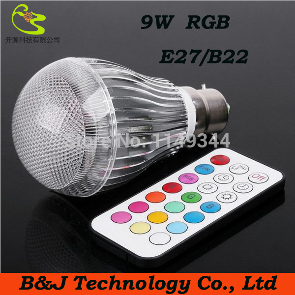 1PCS/LOT B22 9w RGB led bulb 85-265V IR Remote Control led light bulb b22 Led 16 Color Bulb Changeable Lamp multiple colour(China (Mainland))