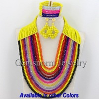 Fantastic Multicolor African Crystal Beads Jewelry Set Charms 12 Strands Mix Nigerian Beaded Jewelry Set Free Shipping GS092