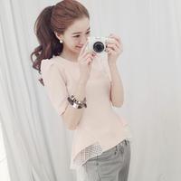Free Shipping new women's summer short-sleeved blouse Slim organza stitching dovetail style chiffon shirt