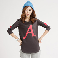 2014 spring and autumn applique letter slim basic sweatshirt sweep placketing o-neck women's long-sleeve hoodies