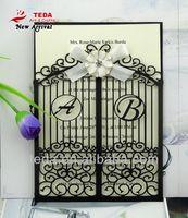 TT-001 Latest black Laser Cut Pocket Wedding Invitation Card