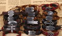 2014 Top Design Mixed Mens Fashion Leather Alloy Bracelets wholesale charm bracelet man Skull/Cross/World peace PBM053