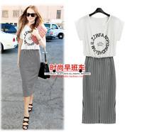 2014 letter print stripe women's 8905 one-piece dress
