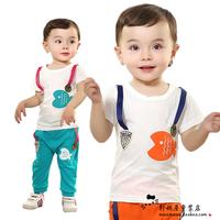 Children's clothing 2014 male female child baby 100% cotton t-shirt child sports set infant
