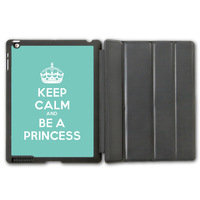 For iPad 2 3 4/iPad 5 Air/iPad Mini Leather Case , Keep Calm And Be A Princess (On Mint) Protective Smart Cover