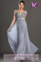 AED0410  Sexy Short Sleeve Lace Chiffon Gray vestido de festa de casamento Long Evening Dress 2014