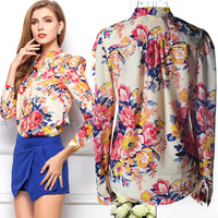 2014 Fashion Floral Print Sexy Long Sleeve Chiffon Blouse Women Clothing Ladies Vintage Blouses Shirt Tops Free Shipping HX213