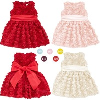 2014 Rose vest dress girls dress children's summer three-dimensional flower princess dress big bow belt party Birthday Gift