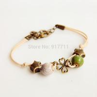 Ceramic Bracelets Jingdezhen Four Leaf Clover Small Accessories For Girls New 2014 Fashion Vintage Jewelry  Wholesale