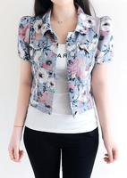 Summer New Beautiful Floral Print Short Puff Sleeve Denim Jacket Turn Down Collar Short Slim Design Blue Flower Sweet Jeans Vest
