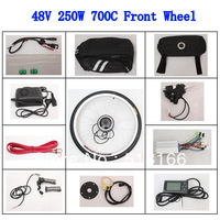 Most Popular 48V 250W Brushless Gearless Motor 700C Bicycle Front Wheel Conversion Kits LCD Screen Ebike For Electric Bike