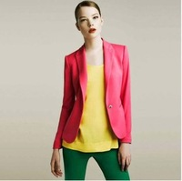 2014 autumn and winter explosion models in Europe and America female candy-colored suit jacket casual women jacket