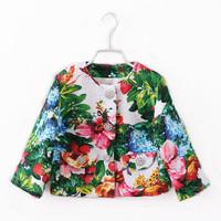 Italy Designer Brand Girls Floral Coat New 2014 Digital Print Children Outerwear & Coats Fashion Kids Girls' Jackets Coats 2-8Y