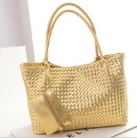 2014 European and American retro high-profile color high-capacity woven shoulder bag fashion gold handbag