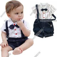 3pcs Baby Infant Kid Child Toddler Newborn Boy Grow Gentleman Brace Bowknot Top+Pant Outfit Set Suit One-Piece Cloth Costume
