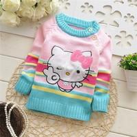 Free shipping 2014 Autumn New baby girls cartoon KT sweater,children pullover,kid sweater#Z487B