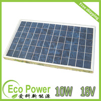 Free shipping 10W 18V Polycrystalline silicon Solar Panel used for 12V photovoltaic power home system