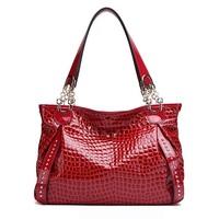 2014 luxury European style women bag fashion design women handbag hot high-end genuine leather crocodile pattern shoulder bag