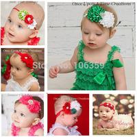 Baby Girl Headband Newborn Infant Shabby Flower Daimond Hairband Boutique Hair Bows Children Accessories 12pcs HB063
