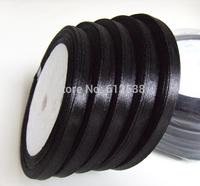 "free shipping,1/4"" 6mm width , 100% Polyester  ribbon, ribbon, 125yard  black color"
