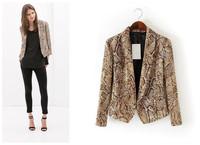 2014 new women's autumn and winter coat big temperament animal snake print blazer casual clothes
