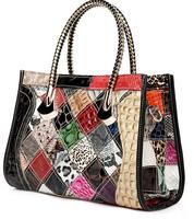 Fashion Brand Women Handbag Cowhide Genuine Leather Luxury Tote Snake Crocodile Skin Pattern Patchwork Shoulder Messenger Bag