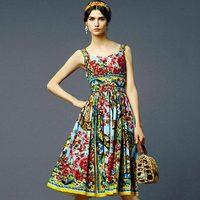 New In Brand Designer Women Strap Multicoloured Floral Print Cotton  Dress Over the Knee Midi VC4038 Plus Size