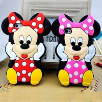 Soft Cute Minnie Mouse 3D Silicone Phone Case Cover For Apple iPhone 5 5S 5G 4 4S Animal Cartoon DHL Free Shipping 100pcs/lot