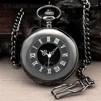 PQ105 Fashion Black Steel Case Dual display Skeleton Men Quartz Pocket Watch Gift +  Chain