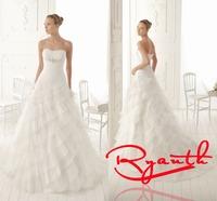 RBC 638 Elegant Strapless Wedding Dresses 2014 Tiered Layers Bridal Gown Organza New Bride Dress